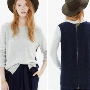 Madewell Color Block Knit Back Zip Sweater